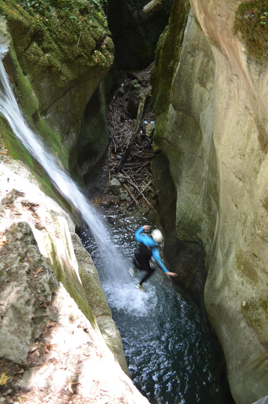 A five meters jump from a step in the middle of the waterfall!