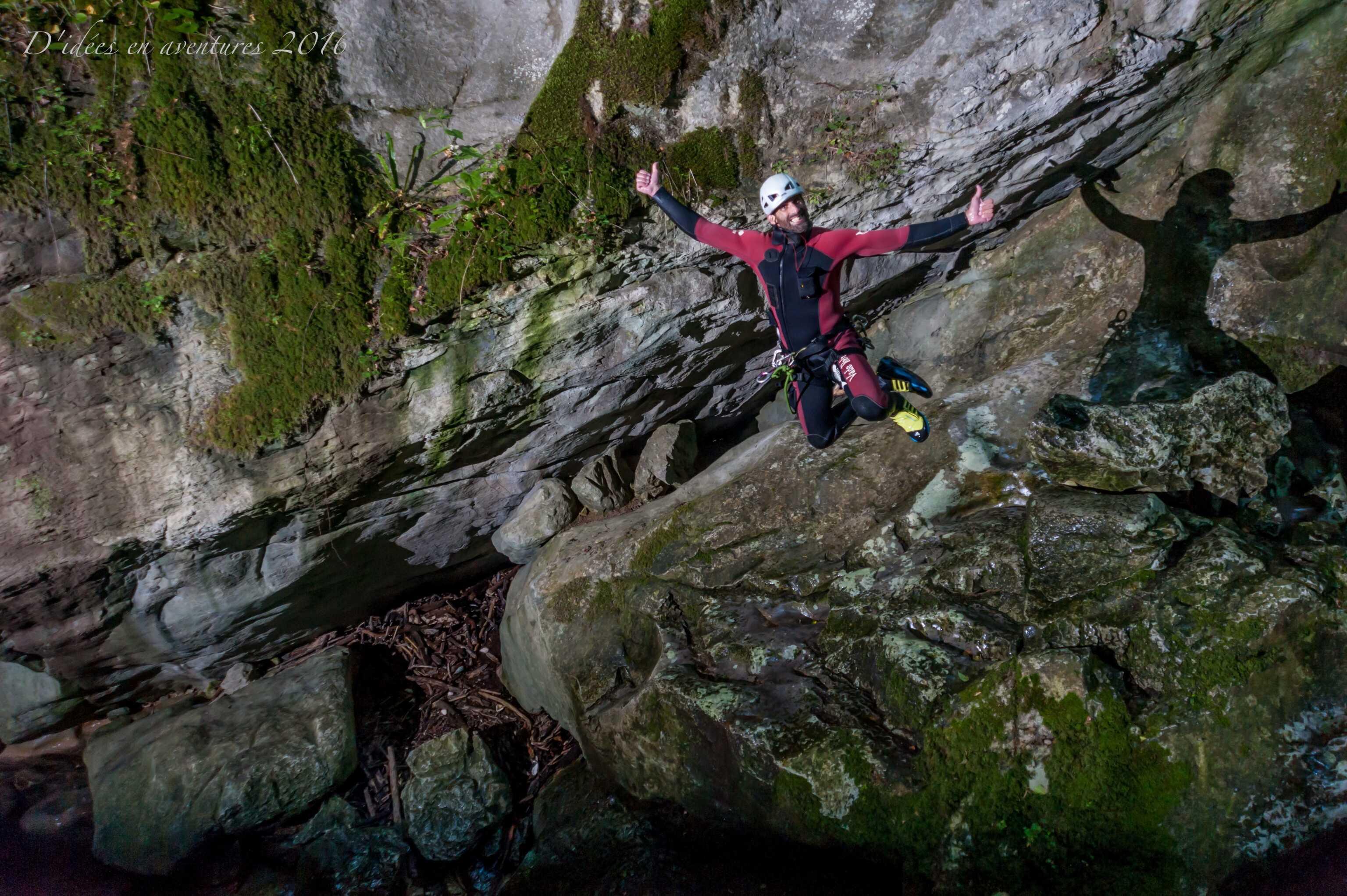 Le moniteur Seb P au canyon du Furon partie haute
