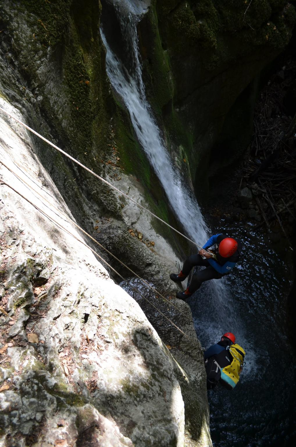 Abseiling in the Furon canyon , canyon close to Lyon and Grenoble
