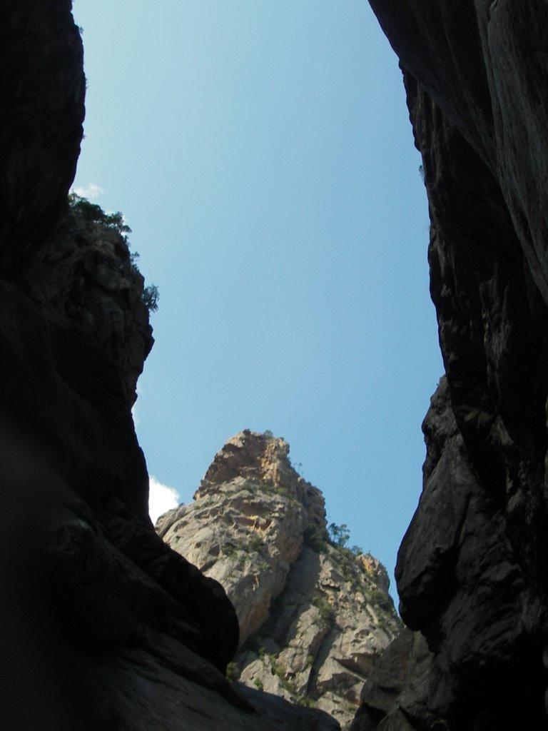 Les aiguilles vue du fond du canyon.