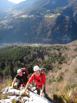At the summit of the first part of the Roche Veyrand via ferrata