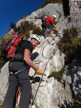 Ropped climbing in roche veyrand via ferrata, Chartreuse range