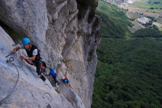 Crolles via ferrata, big dihedral section of Crolles Via ferrata