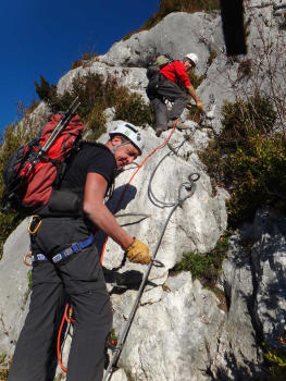 Via ferrata in Chartreuse range, Roche Veyrand section for beginners close to Chambéry and Grenoble