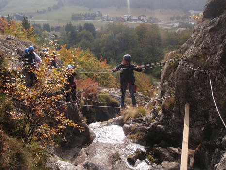 Monkey bridges in the Waterfall via ferrata, Alpe du Grand Serre, close to Grenoble and la Mure