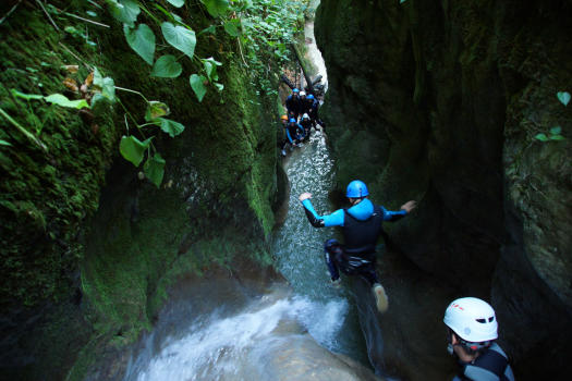 Technical jump in Grenant Canyon, Close to grenoble and Lyon, Chartreuse range