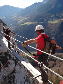 Nepalese bridge, Roche veyrand Via ferrata, full course