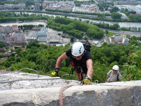 Bastille Via ferrata, end of Part 2, Vercors mountain range, Grenoble