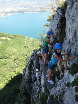 Roc de Cornillon Via ferrata, in front of Bourget's Lake, Chartreuse mountain range