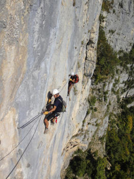 Crossing in via ferrata of Jules carret, Bauges régional park