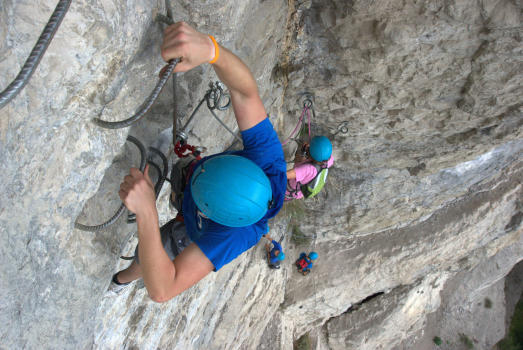 Climbing the big dihedral section, Chartreuse mountain range