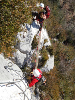 Beam section, Via ferrata in Chartreuse, Roche Veyrand section for beginners