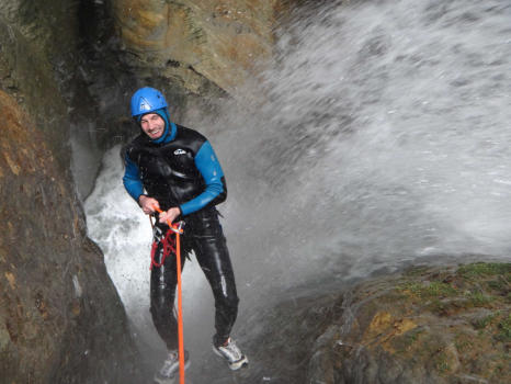 One of the numerous abseils in Pissarde canyon. Claix, near Grenoble and Lyon