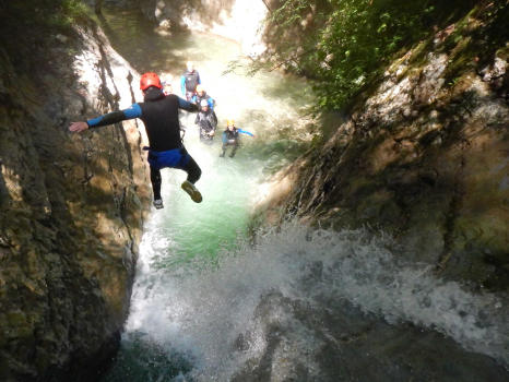 5m jumping above a waterfall, Ecouges complete course, near Grenoble and Lyon, Vercors range