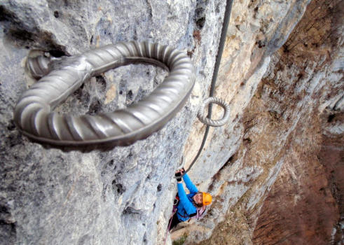 Hard climbing in Jules Carret via ferrata