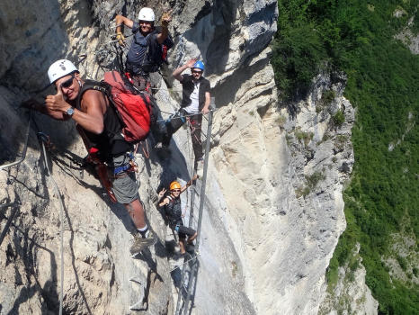Martinet ledder, end of big dihedral via ferrata
