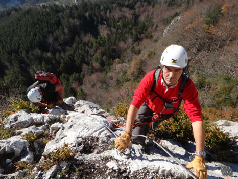 For beginners, Roche Veyrand via ferrata in Chartreuse