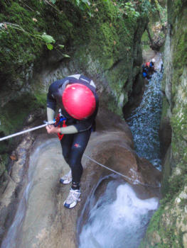 Small abseil to get to the start of the jump. Grenant canyon