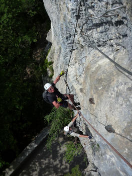 Bastille Via ferrata, beginning of the second part, Vercors mountain range, Grenoble