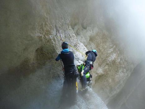 Au dessus de la Vasque supendue, canyon des Ecouges partie Haute